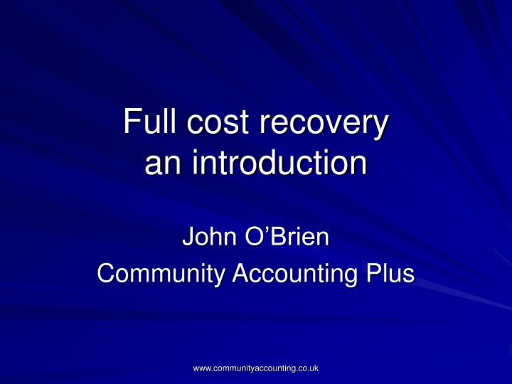 full cost recovery an introduction n.