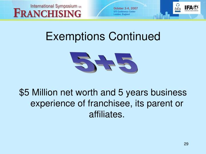 Exemptions Continued