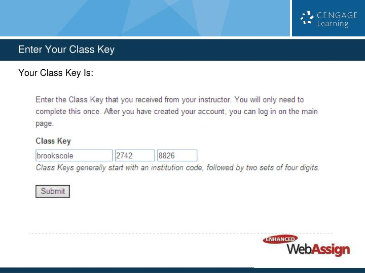 Your Class Key Is: