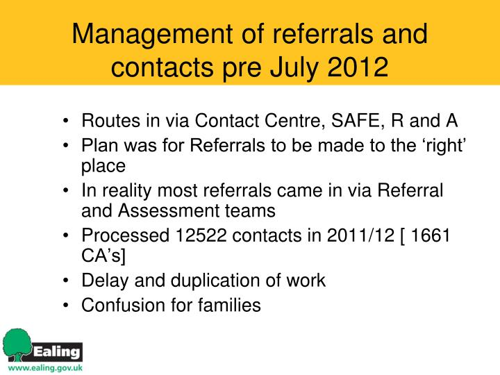 Management of referrals and contacts pre