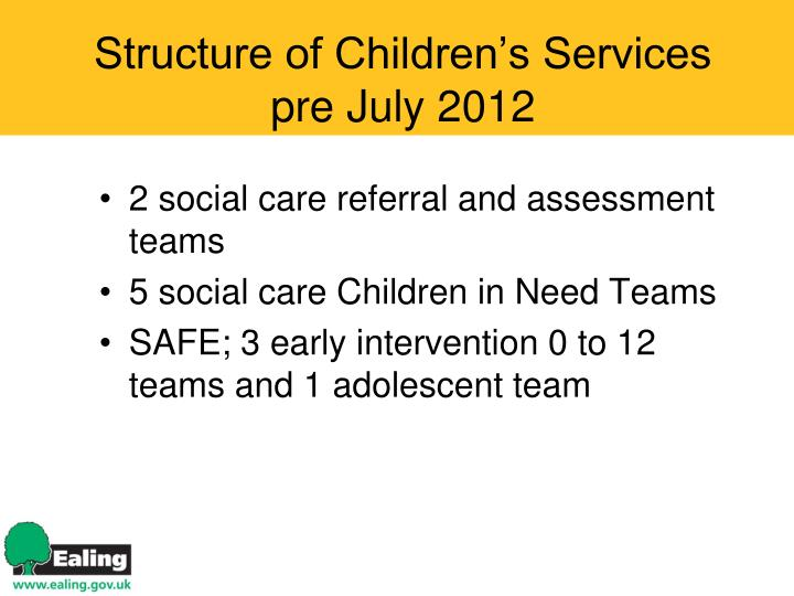 Structure of children s services pre july 2012