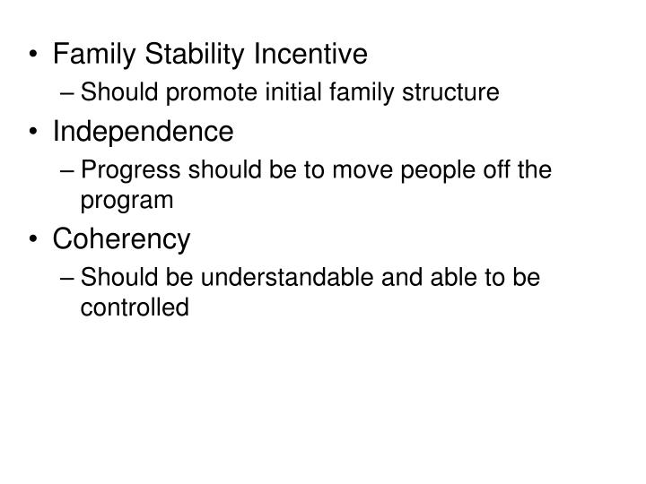Family Stability Incentive