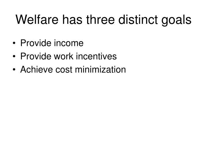 Welfare has three distinct goals