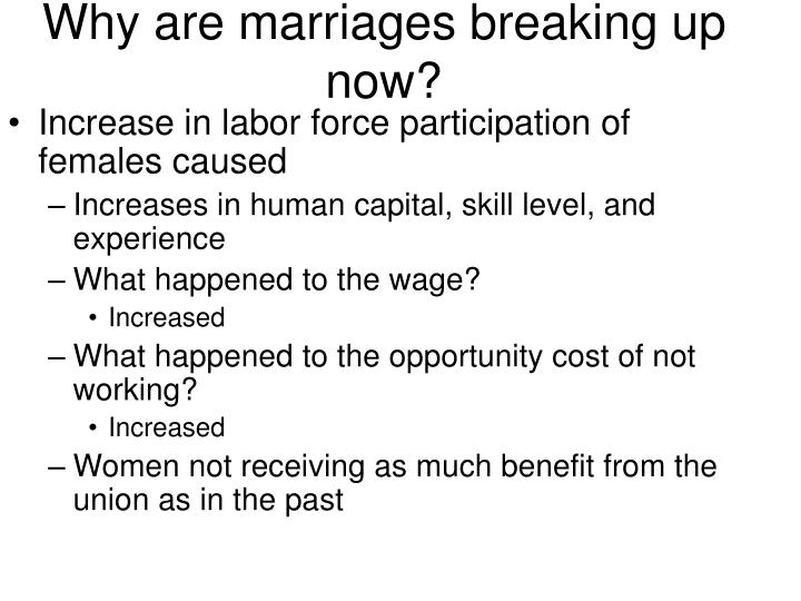 Why are marriages breaking up now?