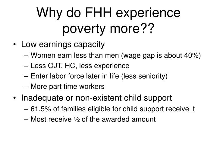 Why do FHH experience poverty more??