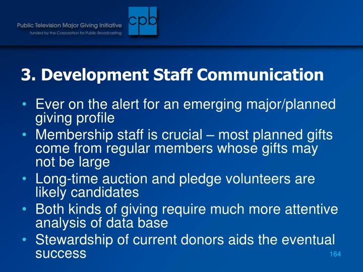 3. Development Staff Communication