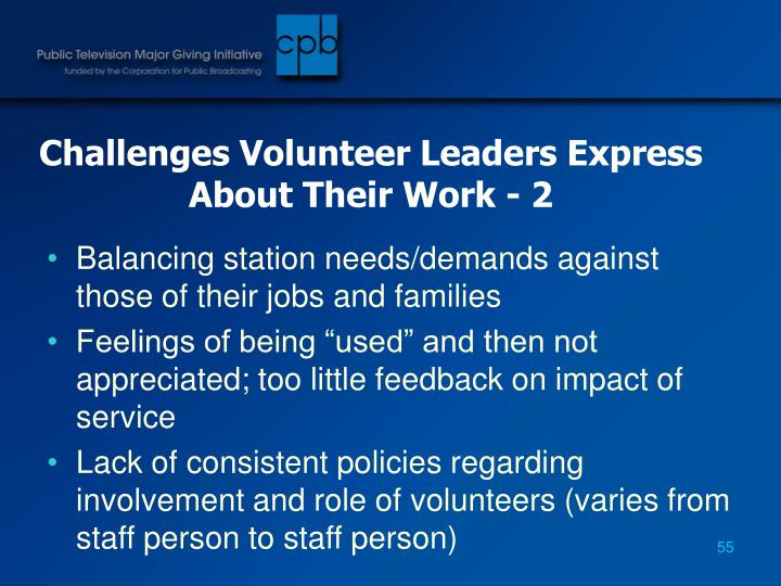 Challenges Volunteer Leaders Express About Their Work - 2