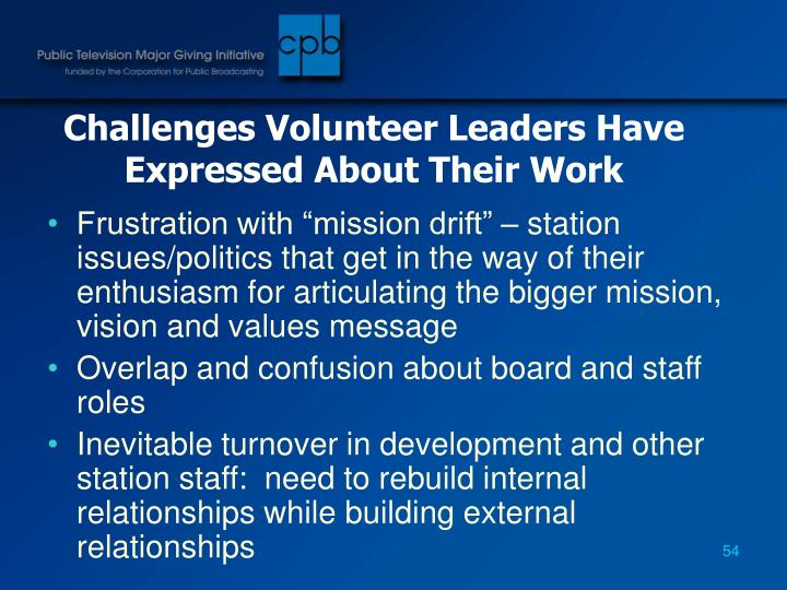 Challenges Volunteer Leaders Have Expressed About Their Work