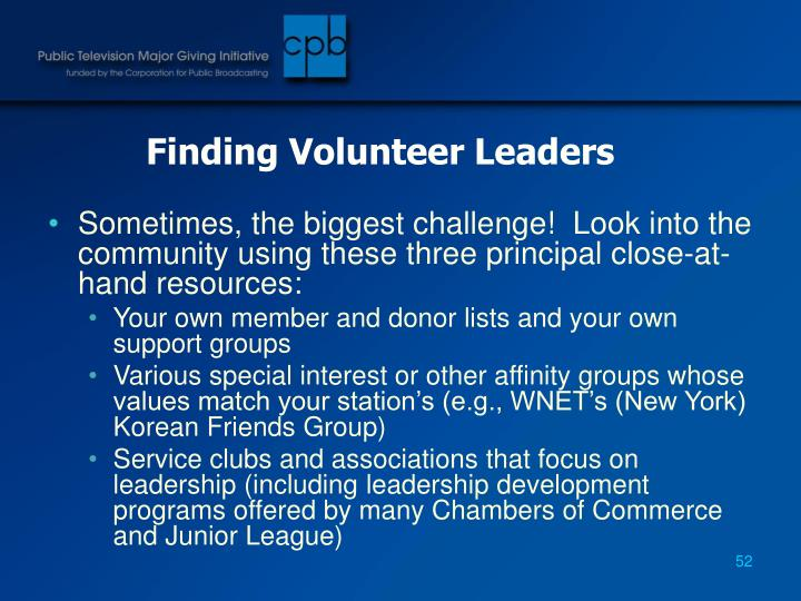 Finding Volunteer Leaders