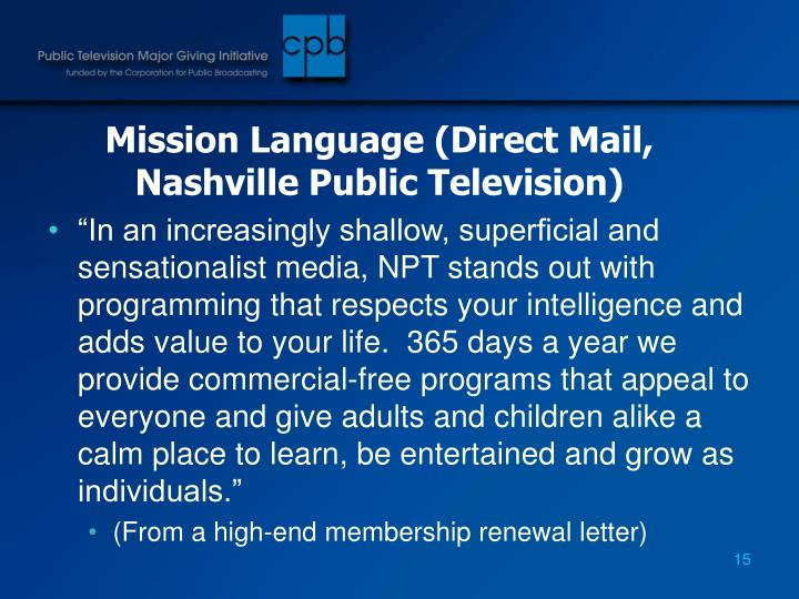 Mission Language (Direct Mail, Nashville Public Television)