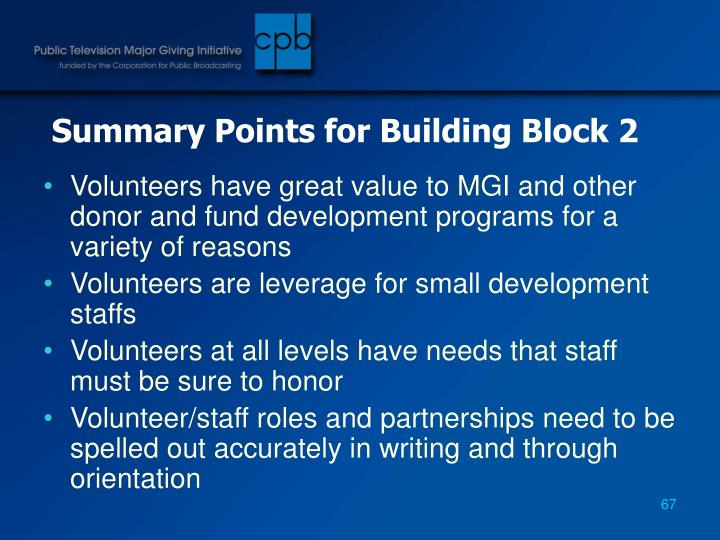Summary Points for Building Block 2
