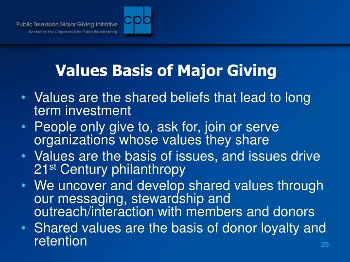 Values Basis of Major Giving