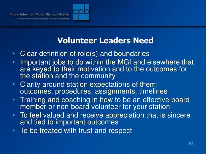 Volunteer Leaders Need