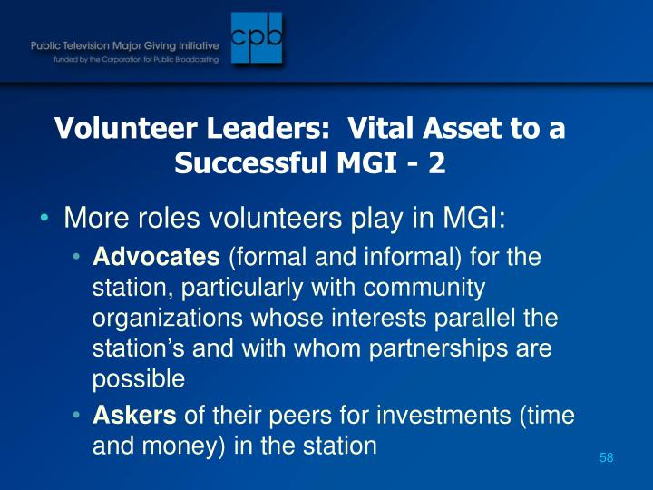 Volunteer Leaders:  Vital Asset to a Successful MGI - 2