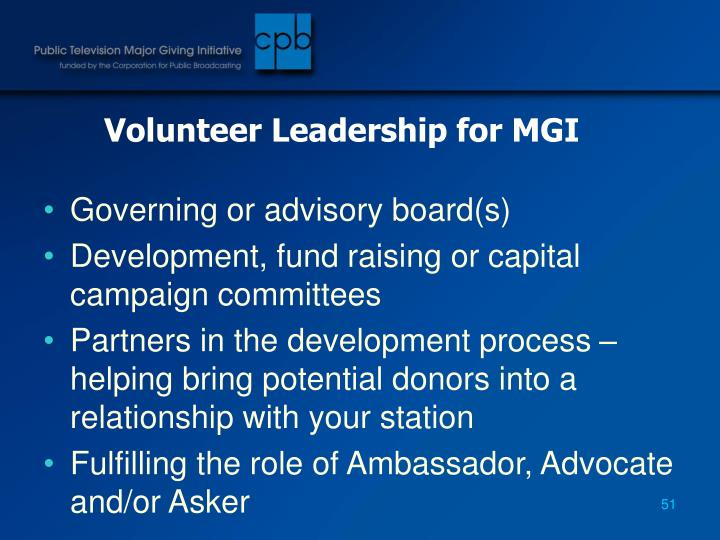Volunteer Leadership for MGI