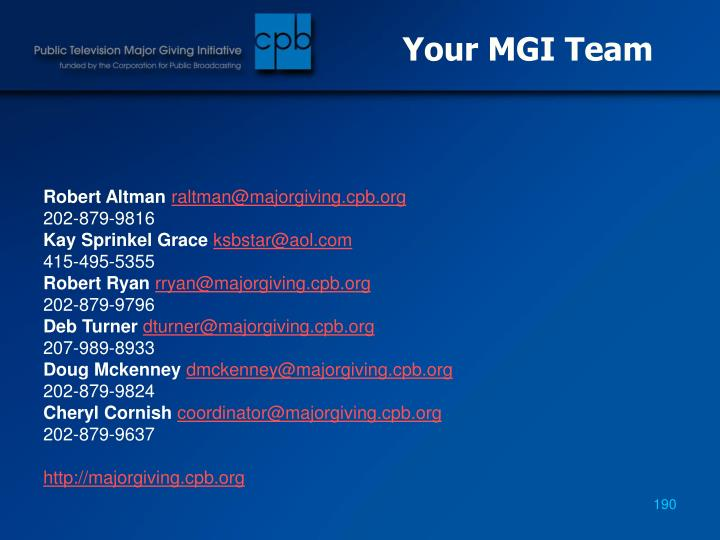 Your MGI Team