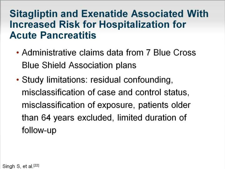 Sitagliptin and Exenatide Associated With Increased Risk for Hospitalization for Acute Pancreatitis