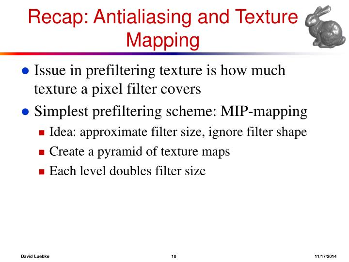 Recap: Antialiasing and Texture Mapping