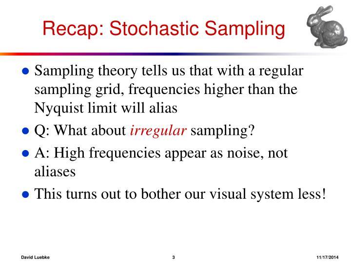 Recap stochastic sampling