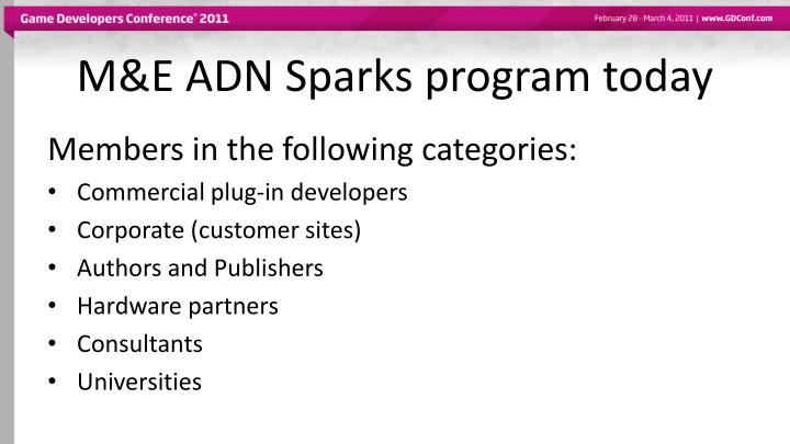 M&E ADN Sparks program today