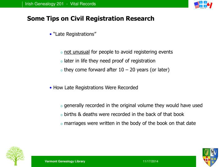 Some Tips on Civil Registration Research