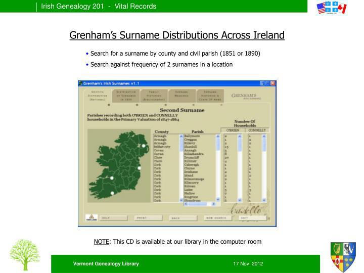 Grenham's Surname Distributions Across Ireland