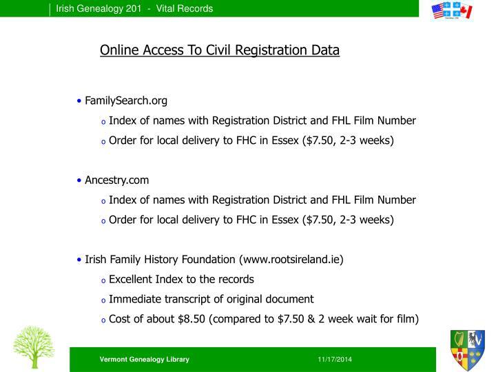 Online Access To Civil Registration Data