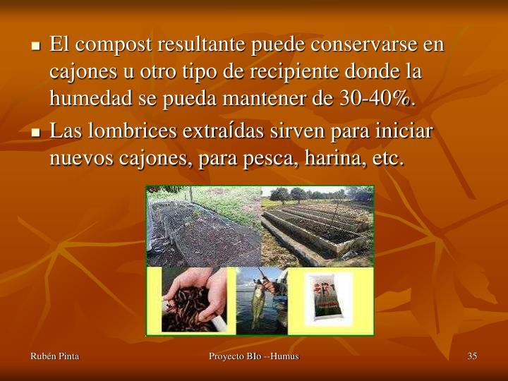 El compost resultante puede conservarse en cajones u otro tipo de recipiente donde la humedad se pueda mantener de 30-40%.