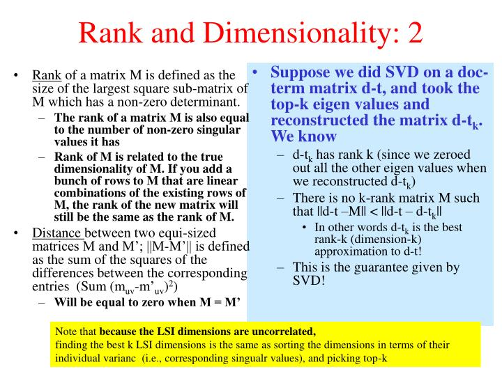 Rank and Dimensionality: 2