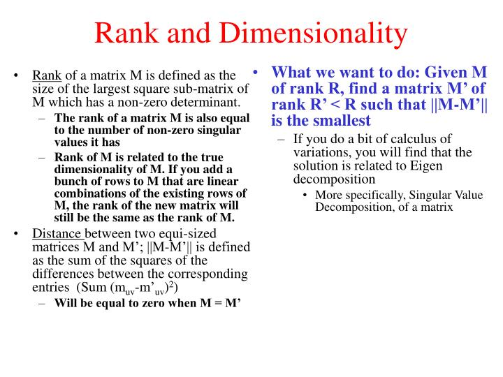 Rank and Dimensionality