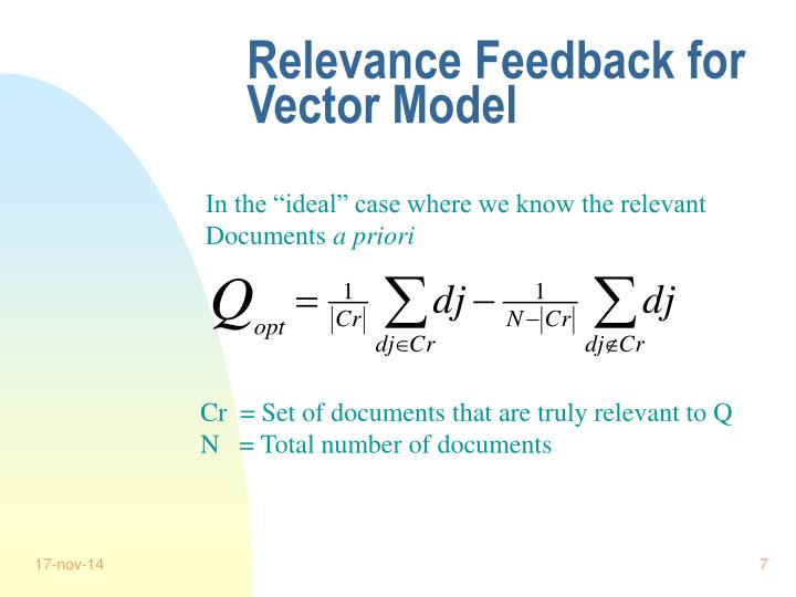 Relevance Feedback for Vector Model