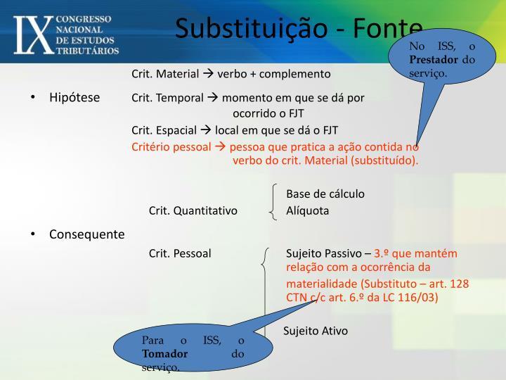 Substituição - Fonte