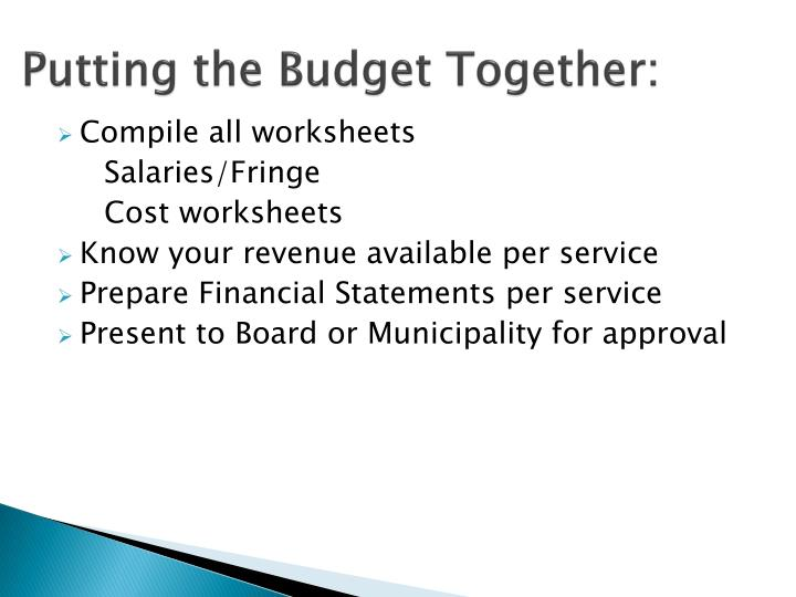Putting the Budget Together: