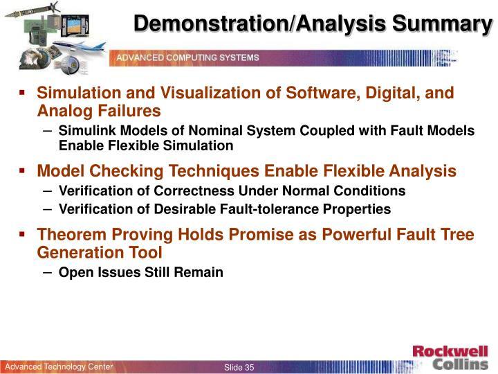 Demonstration/Analysis Summary
