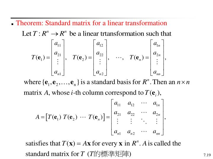 Theorem: Standard matrix for a linear transformation