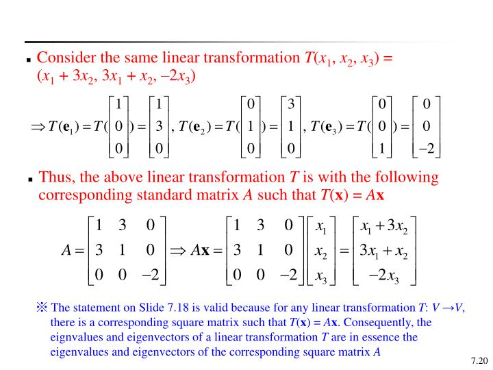 Consider the same linear transformation