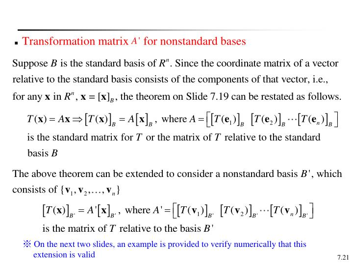 Transformation matrix     for nonstandard bases