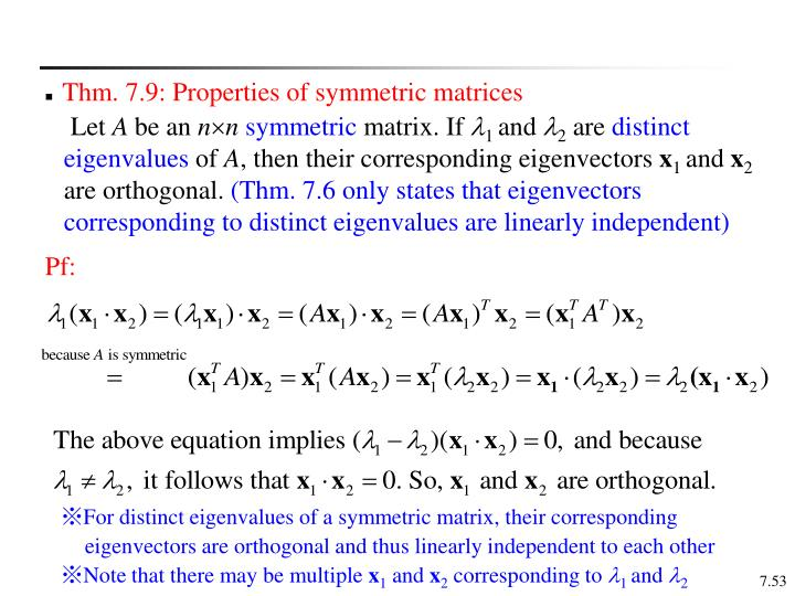 Thm. 7.9: Properties of symmetric matrices