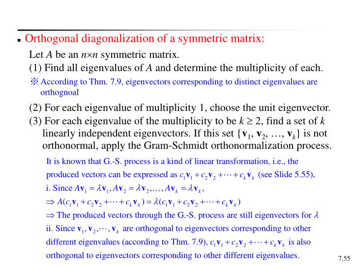 Orthogonal diagonalization of a symmetric matrix: