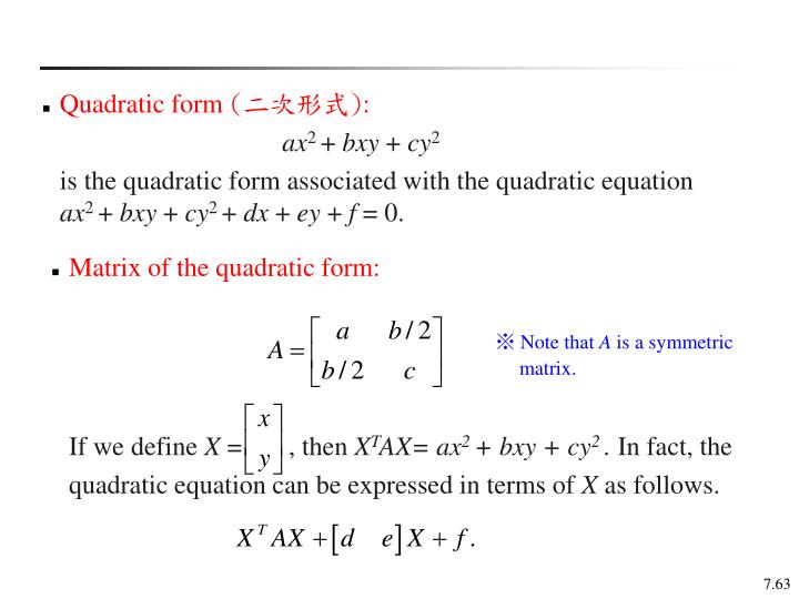Quadratic form