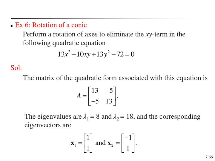 Ex 6: Rotation of a conic