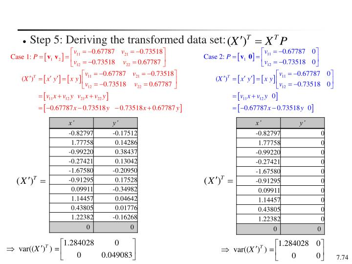 Step 5: Deriving the transformed data set: