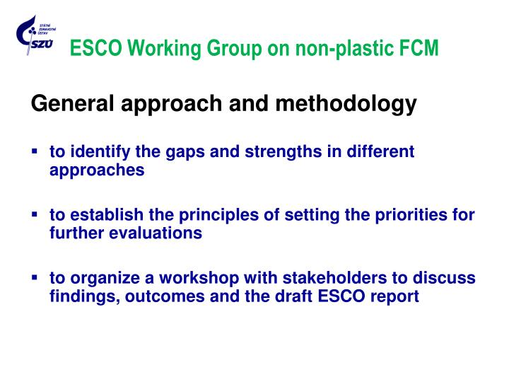 ESCO Working Group on non-plastic FCM