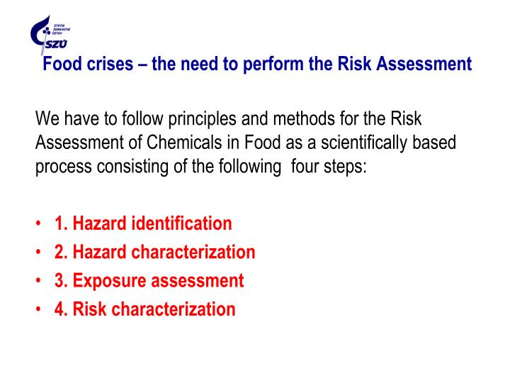 Food crises – the need to perform the Risk Assessment
