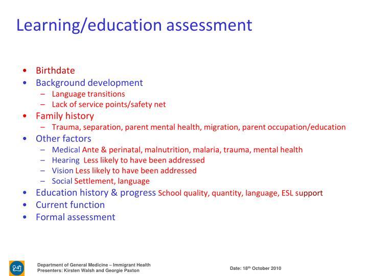 Learning/education assessment