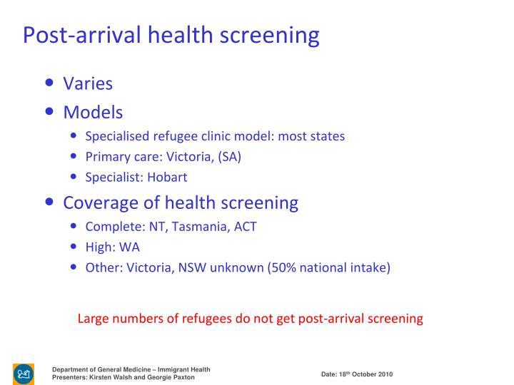 Post-arrival health screening