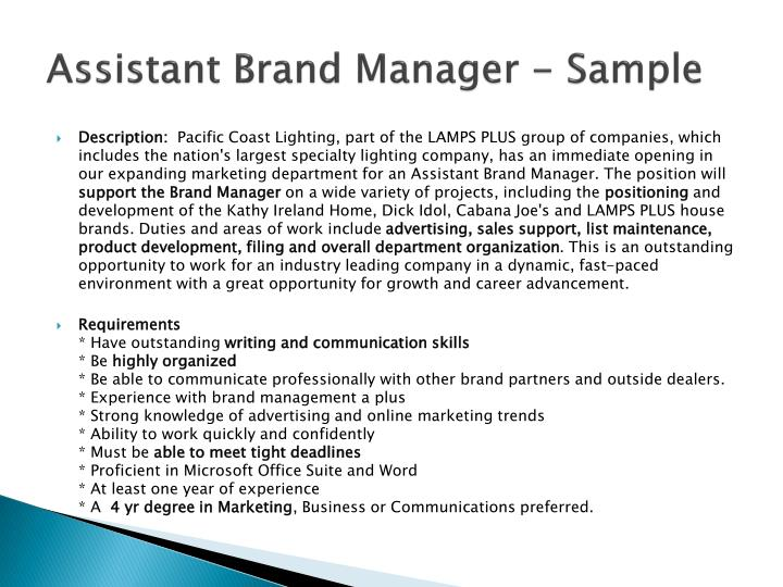 Assistant Brand Manager - Sample