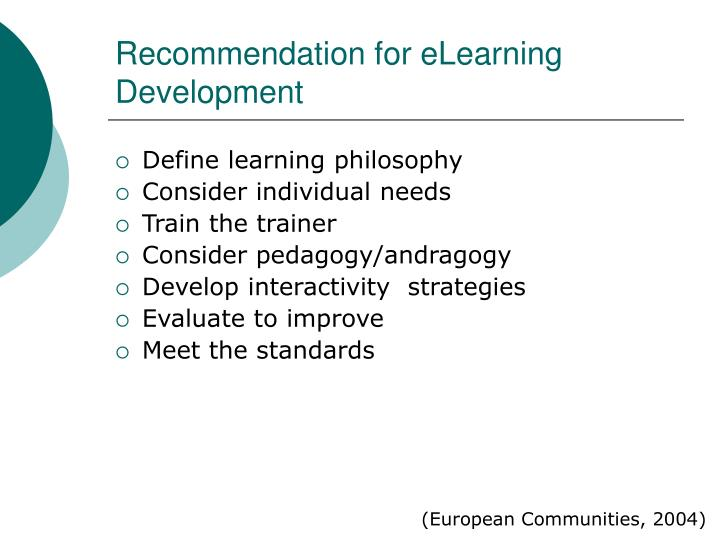 Recommendation for eLearning Development