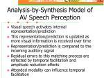 analysis by synthesis model of av speech perception