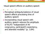 visual speech effects on auditory speech